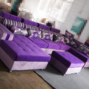 选购紫色布艺组合沙发